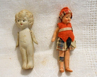 2 Cute VINTAGE DOLLS Nostalgic 1950s Bisque Blond Moveable Arms Japan, Composite Europe Girl, Plaid & Red Felt Outfit, Mini Shelf Sitters