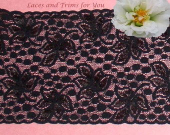 Black Stretch Lace Trim 3 Yards Galloon Bridal 5-1/8 inch M98D Added Items Ship No Charge