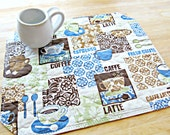 Coffee Placemats, Quilted Placemats, Brown and Blue Placemats, Coffee Decor, Modern Placemats, Kitchen Decor, Coffee print fabric