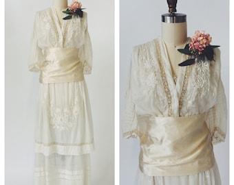 Antique Edwardian Silk Lace Wedding Dress - Humming Bird Bride