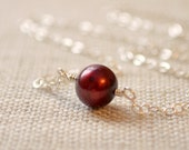 Sterling Silver Choker Necklace, Genuine Freshwater Pearl, Marsala, Dark Red, Simple Jewelry, Free Shipping