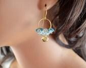 Gemstone Earrings, Cluster, Lemon Quartz, Blue Topaz, Apatite, Wire Wrapped, Gold Vermeil Jewelry, December Birthstone, Free Shipping