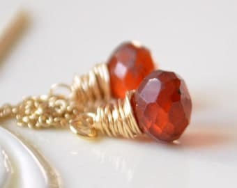 Hessonite Garnet Earrings, Gold Threaders, Burnt Orange Gemstone Onions, Long Chain, Wire Wrapped Jewelry, Free Shipping
