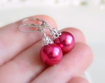 Hot Pink Christmas Earrings, Holiday Jewelry, Ball Ornament, Glass Pearl, Lever Earwires, Wire Wrapped, Sterling Silver, Free Shipping