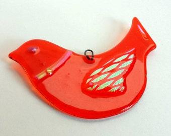 Persimmon Orange - Fused Glass Dove Ornament - Persimmon Orange Glass Suncatcher -  Bird with Dichroic Glass Accents