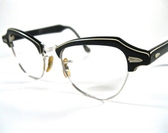 black and white layered horn rimmed glasses. combo frames no lenses cat eye style striped. Bausch and Lomb B&L 44-18