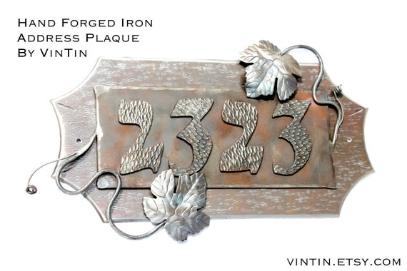 "Hand Forged Iron 12-14"" Wide Address Plaque with Grape Vine and Leaf Accents by VinTin (Item# W-812)"