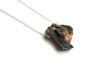 Mini Chimes Pendant - druzy agate, sterling silver chain