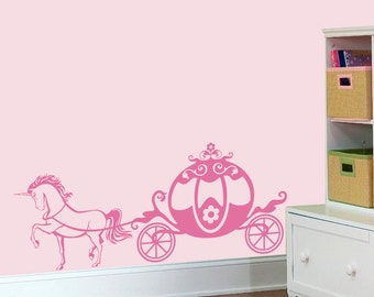 Princess wall decal - Cute Pink Chariot with Unicorn Girly vinyl decals, nursery room sticker, baby girl decal - 022