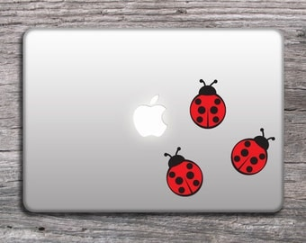 Mac  stickers decal cute lady bugs , red ladybugs design vinyl sticker for laptop , window or wall - 096