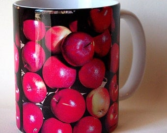 RED apples ceramic mug, farmer's market, harvest, produce, orchard, garden, 11 oz coffee mug, cup, all occasion gift for anyone M650