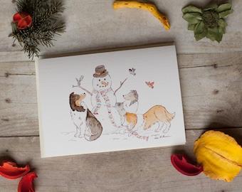 Sheltie Christmas Card- Shelties With Snowman- Shetland Sheepdog Holiday Card 5x7 Card- Collie Dog Christmas Card- Sable Tricolor Blue Merle