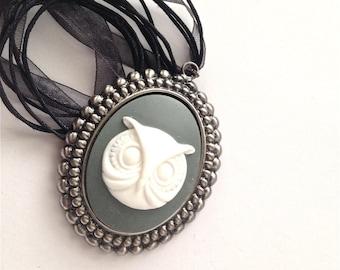 Grey Owl Cameo Necklace