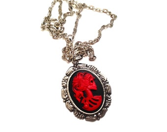 Red Lady skull cameo necklace