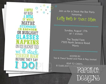 Printable Stock the Bar Party Invite - Digital File ONLY