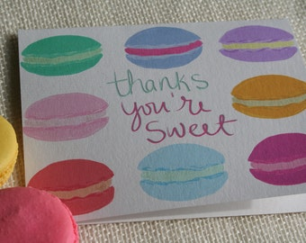 "Illustrated Calligraphy French Macaron Thank You Cards - ""Thanks You're Sweet"""