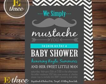 Mustache Baby Shower Invitation - Aqua and Gray Baby Boy Shower Invitations - Little Man Shower