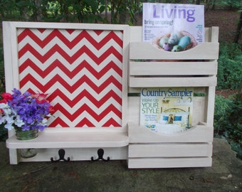 Family Message Center--2 Slot Magazine Organizer--Message Board--Mason Jar Vase Holder-- Mail--Recipe Holder-- Cork Board Center