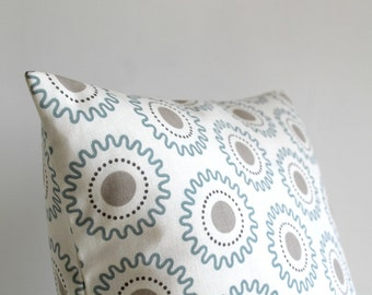 Sofa Pillow Cover, Geometric Cushion Cover, Geometric Pillow Sham, 18 Inch Accent Pillow, 18x18 Throw Pillow Cover - Cogs Pale Blue