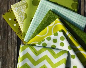 GREEN- Color STASH BUILDER Bundle- Fat Quarter Bundle