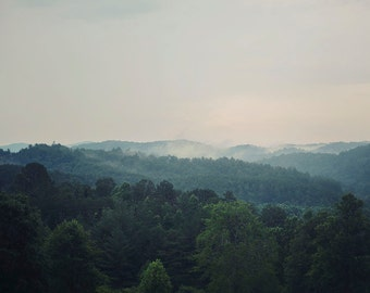The Smoky Mountains - Fine Art Photograph, Wall Art, Tennessee Landscape Photography, Forest, Hills, Trees, Fog, Clouds, Gray, Blue