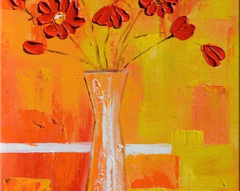 ORIGINAL Oil Painting Flowers 23 x 30 Palette Knife Flowers Modern Textured Yellow Orange Red White Vase ART by Marchella