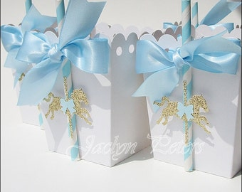 Baby Boys Shower, First Birthday Party, Carousel Theme, Popcorn Favor Box, Merry Go Round, Blue Satin Bow, Gold Glitter Pony, Set Of 12