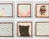 nursery art- art for kids room l Choose (6) SIX of our Custom Designs 5x5 mint nursery decor- redtilestudio