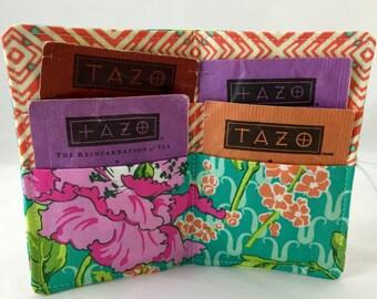 Tea Wallet - Tea Bag Wallet Tea Bag Case Tea Bag Holder Tea Holder - Tea Bag Cozy  Tea Bag Organizer Amy Butler Violette Field Poppy in Rose