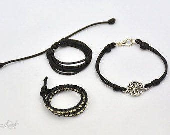 Druid's Spell - BJD jewelry set of 3. Magic boy, silver and black bracelets, sexy look