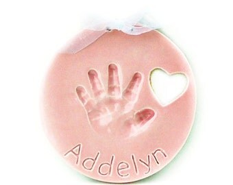Children's Handprint Ornament with Photo Frame  - Child's Handprint Keepsake - Hand print Mold Kit - Child Ornament - Hand Print Ornament