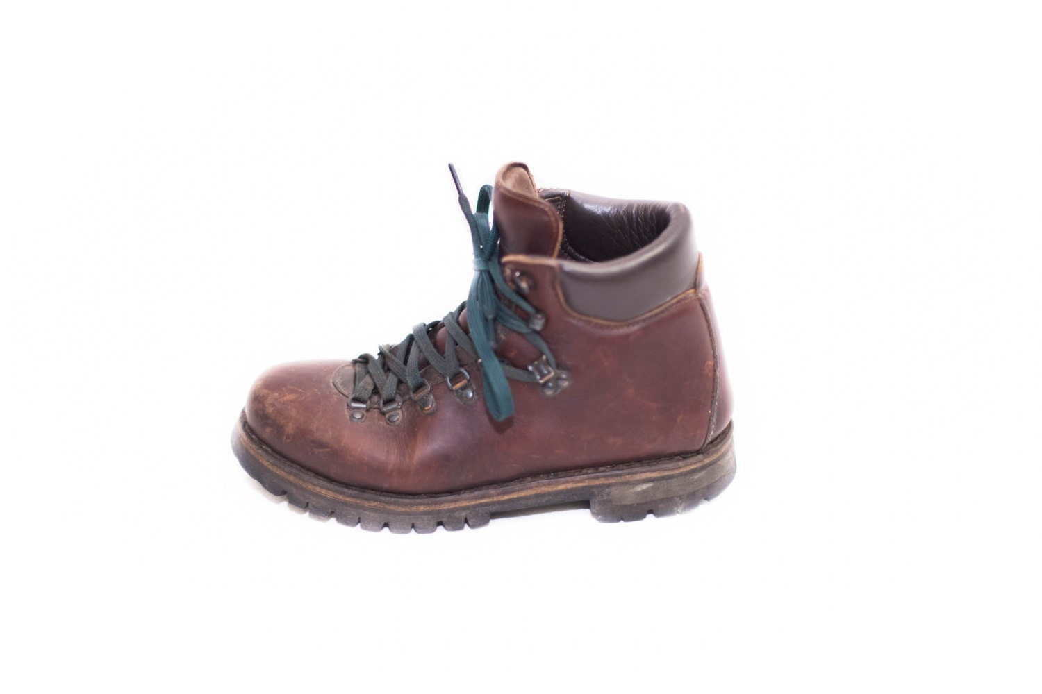 s l l bean brown leather hiking boots lace by