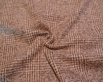 Caramel Brown Prince of Wales Plaid Wool Blend Fabric--One Yard