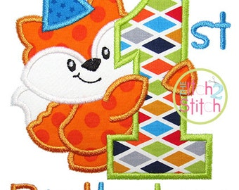 """First Birthday Fox Applique, in 4x4, 5x7, & 6x10, the word """"Birthday"""" is included, but also shown """"Cale's"""" is our """"db Tuesday"""" NOT Included"""