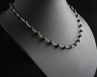 Hand Faceted Garnet Beads Linked Chain Necklace in Sterling Silver