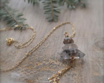 Herkimer Diamond Necklace - Delicate Necklace - Raw Stone Necklace