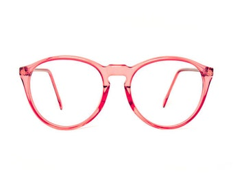 pink transparent round glasses frames - mauve red eyeglasses - 80s deadstock eyewear