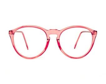 Clavel transparent Round Vintage Eyeglasses - Mauve red / pink glasses - NEW 1980's