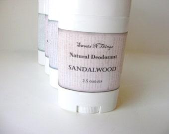 Sandalwood Deodorant, Deoderant Stick, Natural Corn Free Formula