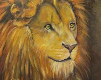 "Lion wildlife animal cat  original art oil painting modern on 16"" x 20"" thick canvas by Sandra Cutrer"