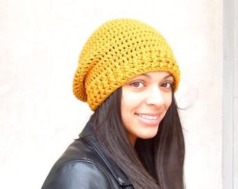 Crochet Slouchy Hat, Tam Hat, Mustard, Beehive Hat, Adult, Crochet, Women, Teen