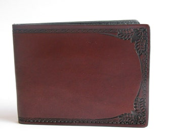 Leather Wallet/ Slimline / ID Section / Rich Brown / Border Tooled