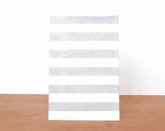 goody bags treat bags: 10 grey gift bags, gray stripes, favor bags