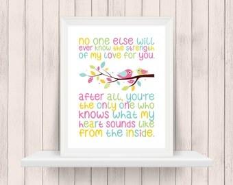 No One Will Ever Know the Strength of My Love | Bird | Owl | Nursery Art | Wall Art | Subway Art | Nursery Decor | 5x7 | 8x10 | 11x14