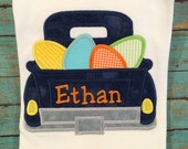 Boys easter tee with navy blue truck and easter eggs by gigibabies, tshirt, outfit, toddler, seersucker