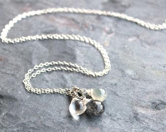 Tourmalinated Quartz Necklace Sterling Silver Trio Gemstone Pendant Necklace Black Gray White