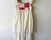 Size 7 Quilted Bodice Dress with Organic Cotton Muslin Skirt / Antique French Textiles Eco Recycled