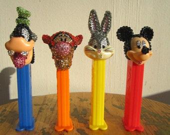 Mickey, Goofy, Tigger and Bugs Swarovski rhinestone encrusted Pez Dispensers