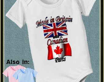 Made in the UK with Canadian Parts baby bodysuit - Canada Bodysuit - Canada Flag - British Flag - British Bodysuit - UK Bodysuit