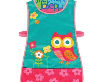 Personalized Monogrammed Stephen Joseph Teal Owl Craft Apron--Fast Turnaround--Free Monogramming--